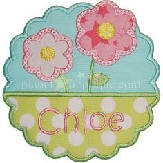 Flower Name Plate - Planet Applique Inc
