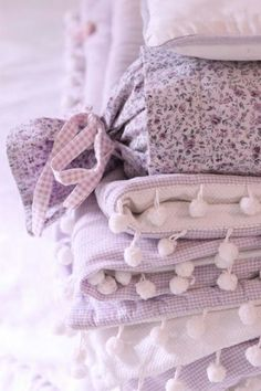Pretty stack of lavender blankets