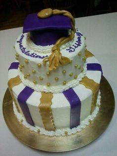 Purple & Gold Graduation cake   Cakes   College graduation ...