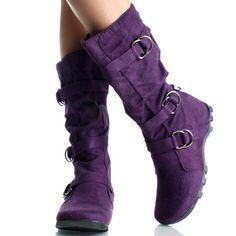 Purple Slouch Mid Calf Hidden Wedge Boots