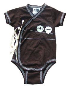 Brown Owl Short Sleeve Kimono Onesie with Ties. $24.00, via Etsy.