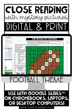 Help your students get excited about close reading with these football themed reading activities. They come in print and digital form to use during times of distance learning as well as in the classroom! This reading comprehension resource is no prep and is great practice for close reading skills for upper elementary students. Includes 3 Engaging, high interest
