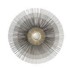 Shop Starburst Round Wall Mirror.  This starburst mirror is inspired by a mid-century antique.  A mini mirror is surrounded by an antiqued brass geometric starburst radiating three layers of steel spring wires.