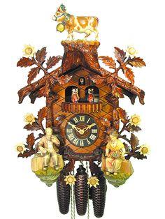 Kuckucksuhr aus dem Schwarzwald mit Echtheitszertifikat. Schwarzwald-Haus mit Holzschnitzerei und 8-Tages-Uhrwerk von der Kuckucksuhren-Manufaktur August Schwer