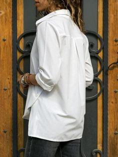 Women Casual Turn down collar Plain Long Sleeve Blouses - Cicicloth Girls Tunics, Shirts For Girls, Blue Shirt Girl, Cami Tops, Tunic Tops, Boyleg Swimsuit, White Lace Cami, Style Feminin, Casual Tops For Women