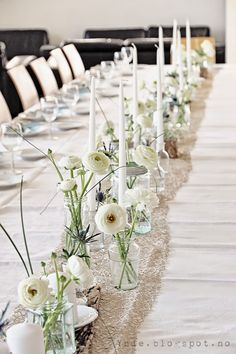 Skinny table runner/vases