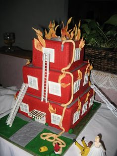 Burning House Wedding Cake | Shared by LION - Don't think i'd have this as a wedding cake but cool cake all the same