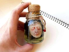 Severed head in a jar Weird gift Collectible oddity Glass
