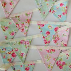 Handmade Fabric Bunting in Pink, Blue and Green Floral Cotton Prints, Girl Bedroom Decor, Shabby Chic Style Banner, Cottage Style Garland