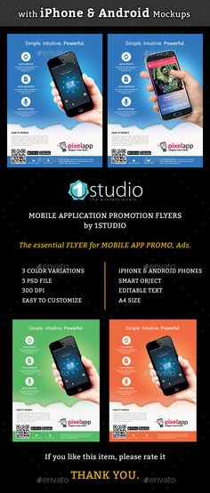 Mobile App Flyers with iPhone & Android Mockup Template #design Download: http://graphicriver.net/item/mobile-app-flyers-with-iphone-android-mockup/12666356?ref=ksioks
