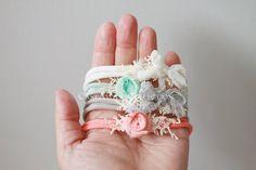 Set of 4 Newborn Headbands - Newborn Photo Prop: Newborn Tieback, Newborn Flower Crown, Newborn Halo, Organic, Simple, Photography Props