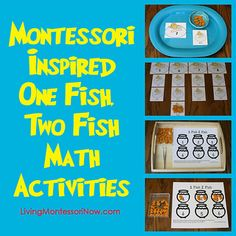 Montessori-Inspired One Fish, Two Fish Math Activities - four activities for differing levels of math competency with lowest starting at the bottom