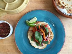 Almond-flax tostadas with steak, peppers and onions. Photo: Amanda Gold