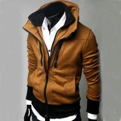 $27.03    Fashion Causal Double Collar Rider Style Hoodie Coat Jacket Tops Sweater for Men