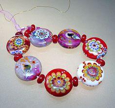 Artist Glass Lampwork Beads, Bracelet Size, Love Story, Red, handmade by…