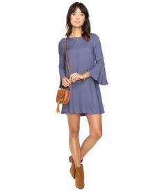 Jack by BB Dakota Lulani Bell Sleeve Dress (Indigo Blue) Women's Dress