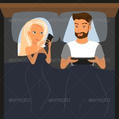 Couple Using Digital Devices in Bed   Created: 12August14 GraphicsFilesIncluded: JPGImage #VectorEPS Layered: Yes MinimumAdobeCSVersion: CS Tags: adult #camera #cartoon #couple #facebook #female #girl #illustration #lifestyle #love #male #man #mobile #networking #people #person #phone #photo #self #selfie #smart #smartphone #snapping #snapshot #social #tablet #together #twitter #vector #woman #graphicriver