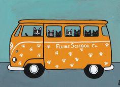 The Kittens School Bus  Original Cat Folk Art by KilkennycatArt
