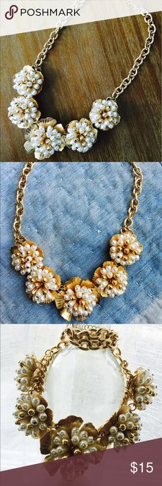 Gold & Pearl Floral Necklace Very heavy and big statement piece! Great for events or to dress up a black work outfit. Marked Anthropologie for exposure. Anthropologie Jewelry Necklaces