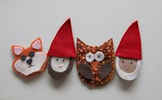 Homemade finger puppets from WhiMSy love: Woodland Gnome Birthday Party!!