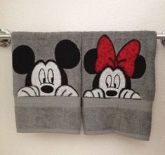 Peekaboo Mickey and Minnie bathroom hand towels.