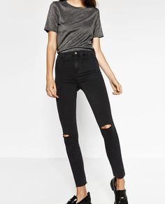 Image 3 of HIGH ELASTICITY HIGH-WAISTED JEGGINGS from Zara