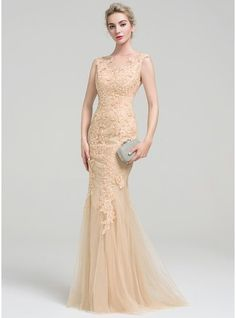 Trumpet/Mermaid Scoop Neck Floor-Length Zipper Up Cap Straps Sleeveless No Champagne Spring Summer Fall General Plus Tulle Lace Evening Dress