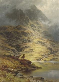 The incoming mist, deer in the Highlands by Charles Stuart