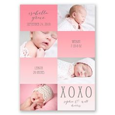 Hugs and Kisses Photo Birth Announcements at Invitations By Dawn
