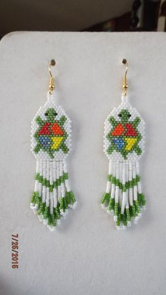Native American Stlye Beaded Green Turtle by BeadedCreationsetc Beaded Earrings Native, Beaded Earrings Patterns, Seed Bead Earrings, Fringe Earrings, Star Earrings, Seed Beads, Native Beading Patterns, Seed Bead Patterns, Ear Jewelry