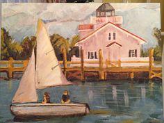 Sailing in Manteo Harbor- da boys. Private collection