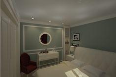 Design interior dormitor new clasic realizat pentru apartament cu 2 camere in Constanta,Faleza Nord .