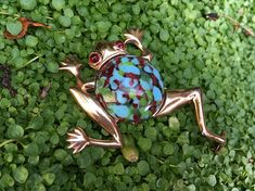 Sterling Art Glass Jelly Belly Frog Brooch – Unsigned Mazer 1940s Figural Jewelry