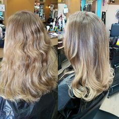 Beautiful natural blonde balayage, from clients natural root colour to a soft blonde. finished with a soft wavy blowdry.