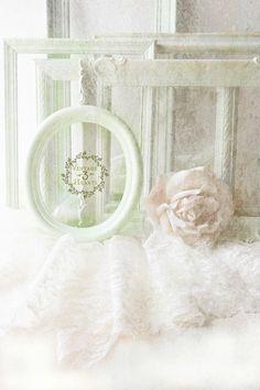 Pastel Green Shabby Chic Frames. Spring Wedding. French Chic.
