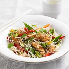 Rice noodle salad with hot smoked salmon - Woman And Home