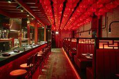 Won Fun Chinese Restaurant Restaurant Design Vintage, Red Restaurant, Restaurant Interior Design, Vintage Design, New Chinese Restaurant, Modern Chinese Interior, Asian Interior, Chinese Bar, Chinese Food