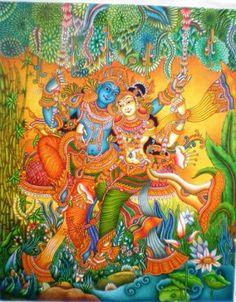 Mural Kerala Mural Painting, Buddha Painting, Krishna Painting, Krishna Art, Radhe Krishna, Art Forms Of India, Mural Art, Murals, Indiana