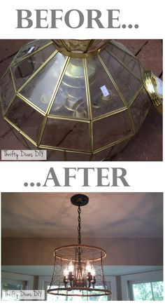 Transform thrift store chandelier! Farmhouse inspired light, THRIFTY DIVAS DIY