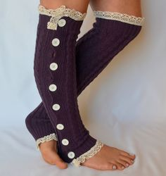 Purple cable knit slouchy open button down leg warmers by bstyle, $34.00