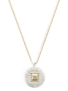 Two-Tone Mayan Coin Pendant Necklace by ARIANNE JEANNOT at Gilt