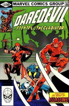 Daredevil 174 VF 1981 Elektra The Gladiator Frank Miller Comic Book Villains, Marvel Comic Books, Comic Books Art, Comic Art, Book Art, Frank Miller, Marvel Girls, Marvel Vs, Marvel Heroes