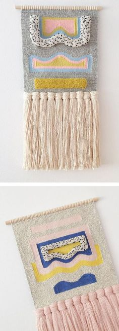 Weaving by Allyson Rousseau // wall hangings // yarn art Tejido por Allyson Rousseau // tapices // arte de hilo Weaving Wall Hanging, Weaving Art, Tapestry Weaving, Loom Weaving, Hanging Tapestry, Wall Hangings, Hand Weaving, Weaving Projects, Contemporary Embroidery