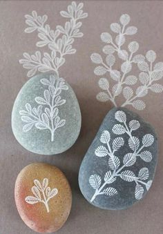 Stone Art   - Neutral Colors:   White, Cream, Gray, Brown on Taupe / Pale Mauve