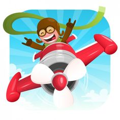 Happy pilot illustration Free Vector