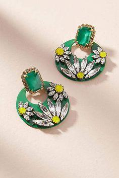 Elizabeth Cole Stiles Hoop Drop Earrings