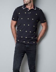 POLO SHIRT WITH EMBROIDERED CROWNS - T-shirts - Man - ZARA