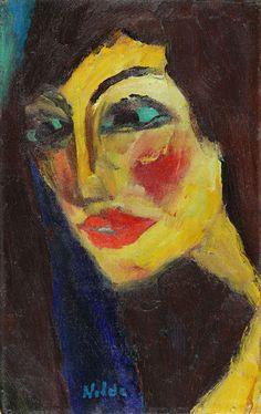Nadja by Emil Nolde - Portraits play a prominent role in the artist's oeuvre, particularly during his early creative period. Fascinated by the obscure inner stirrings of human identity, the artist was challenged to develop an unusual, gestural mode of expression in his portraits. His painting style appears highly informal, as if emancipated from the object, giving faces and human images the look of original creations.