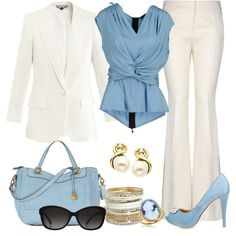 Love the total package. Beautiful off white and light blue. Draping of the top is great for cammoflauge.and the cut of the slacks is very flattering for a curvy shape. Not sure I care for the shoes.Silver accessories are a must Diva Fashion, Office Fashion, Fashion Outfits, Womens Fashion, Ladies Fashion, Fashion Trends, Fashion Ideas, Business Outfits, Business Attire