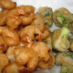 Paula Deen's Beer Battered Shrimp Recipe - Tried it. Battered Shrimp Recipes, Beer Battered Shrimp, Fried Shrimp Recipes, Pork Rib Recipes, Shrimp Dishes, Fish Recipes, Seafood Recipes, Shrimp Batter, Kitchens